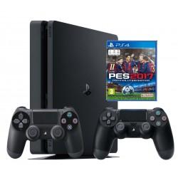 PS4 Slim 1TB + джойстик x2 + PES 2017