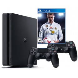 PS4 Slim 1Tb + fifa 17 + gamepad x2