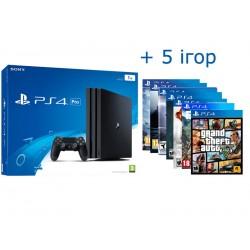 PS4 PRO + 5 игр