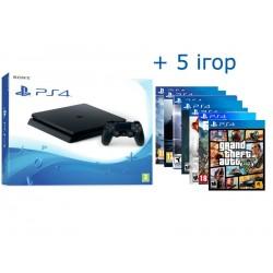 PS4 Slim + 5 игр