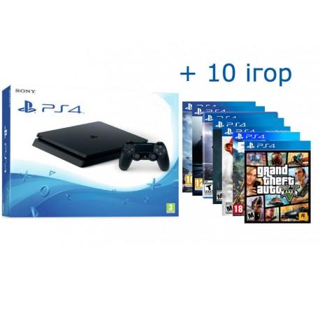 PS4 Slim + 10 игр