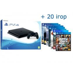 PS4 Slim 1tb + 20 игр