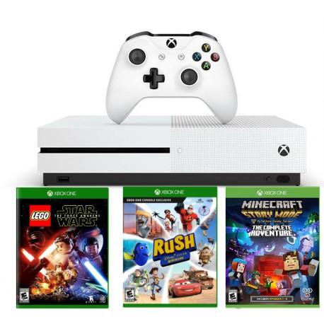 Xbox One S 500Gb + Lego star wars + Rush + Minecraft story mode