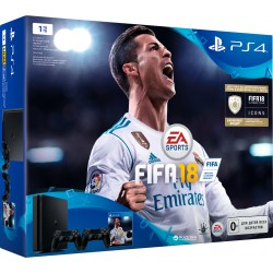 PS4 Slim 1Tb + fifa 18 + gamepad x2