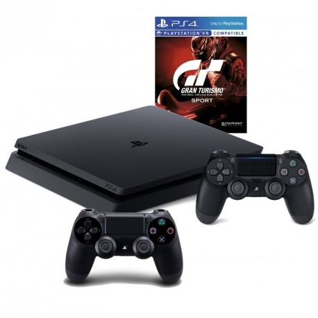 PS4 slim gamepad x2 + Gran Turismo Sport