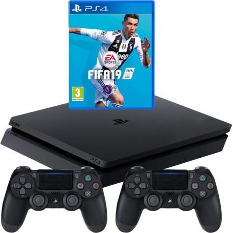 Sony Playstation 4 Slim 1TB + Fifa 19 + gamepad x2